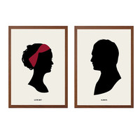 Love Me Always Poster : 'Chair' Modern Illustration Gossip Girl TV Series Retro Art Wall Decor - Set of Two Prints A4 8 x 11