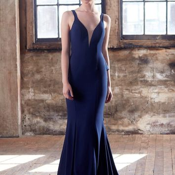 Tinaholy Couture T1708 Navy Blue Deep V Neckline w a Drape Back Formal Gown Dress