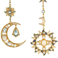 Percossi Papi|Gold-plated, topaz, moonstone and sapphire earrings|NET-A-PORTER.COM