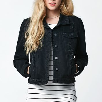 Bullhead Denim Co. Ripped Denim Jacket - Womens Jacket - Black