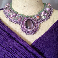 Purple Tiger Eye Cabachon,Bead Embroidered Collar,Necklace,Lamp Work Beads, Pearls, Fluorite Nuggets