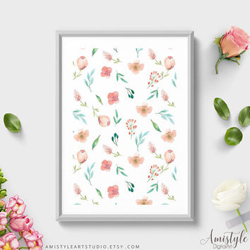 Wall Art Print, Coral Mint Flowers Pattern, Watercolor Print, Floral Print, Pattern Decoration, Pattern Art,Pattern Decoration,Botanical Art