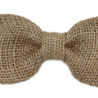Natural Burlap Clip On Bow Tie - Men / Boys / Toddler Rustic Wedding