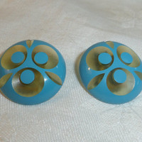 "Carved Bakelite Earrings Apple Juice with Turquoise 1"" dia. 1960s Mid Century Modern Design"