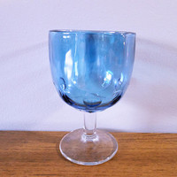 Bartlett-Collins Blue Glass Goblet, Blue Thumbprint Goblet, Blue Flashed Wine Glass, Blue Water Goblet