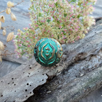 baroque, antique  green ring,  vintage ring, polymer clay ring, antique gold, antique bronze