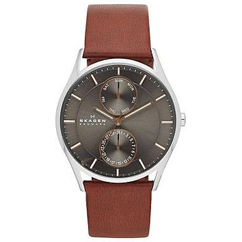 Skagen Mens Holst Day/Date Watch - Two-Tone - Charcoal Dial - Brown Leather