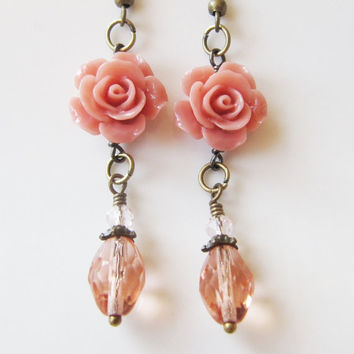 Peach earrings, flower earrings, gift for her, spring, prom, romantic jewelry, Europe, vintage style