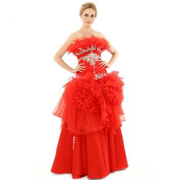 Elegant Strapless A Line Satin And Tulle Long Evening Dress Floor Length Formal Gowns