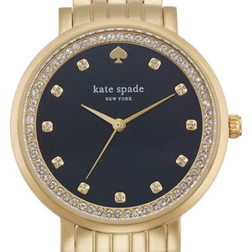 Women's kate spade new york 'monterey' crystal dial bracelet watch, 38mm - Gold/ Black