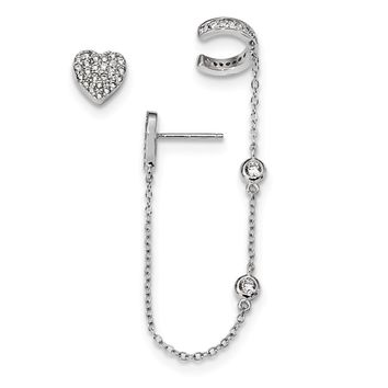 925 Sterling Silver Rhodium-plated CZ Heart Cuff & Post Earrings