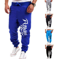 2015 New Men'S Casual Letters Loose Sweatpants Spell Color Printed Trousers Joggers, Men'S Outdoor Sports Pants 5 Color