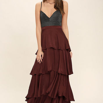 Celebrate the Occasion Burgundy Satin Maxi Skirt