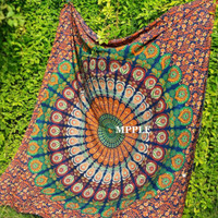 Queen Size Indian Hippie Wall Hanging Bohemian Colorful Bohemian Cotton Bedsheet