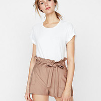 High Waisted Side Tie Linen-Blend Shorts