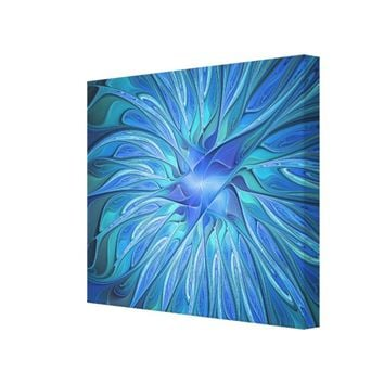Blue Flower Fantasy Pattern, Abstract Fractal Art Canvas Print