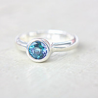 Blue Topaz Ring Neptune Garden Blue Topaz Engagement Ring Topaz Ring Sterling Silver Size 7 Promise Ring December Birthstone
