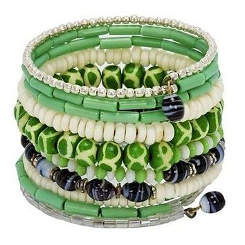 Ten Turn Bead and Bone Bracelet Forest Greens