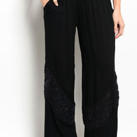 High Waisted Lace Trim Wide Leg Palazzo Pants