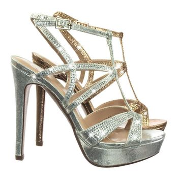 Fish by Delicious Rhinestone studded Embelished Cage Gladiator Sandal On High Heel Platform