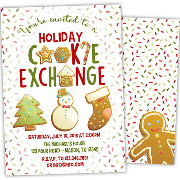 Cookie Exchange Invitation - Christmas Cookie Party Invitation - Holiday Cookie Party - Cookie Decorating Party - Gingerbread Man Cookies