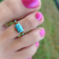 Toe Ring, Topaz, Turquoise, Rustic, Bead Toe Ring