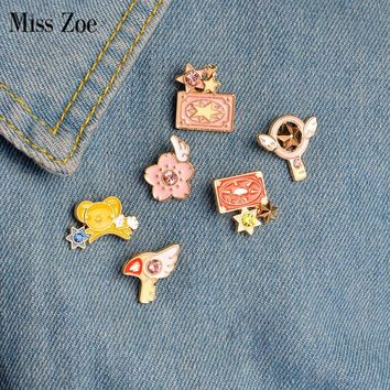 Miss Zoe 6pcs/set Card Captor Sakura Clow Card Wings Star Stick Bird KERO Brooch Denim Jacket Pin Badge Animation Jewelry