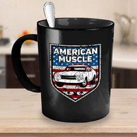 American Muscle Car Coffee Mug 11oz - 15oz White - Black Ceramic Cup, Mechanics Gift, Classic Car Mug, Antique Vehicles, Vintage Automobiles
