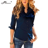 Avodovama M 2018 5 Solid Color Button Blouse Women's Slim Office Shirts New Long-Sleeve Turn-down Collar Tops