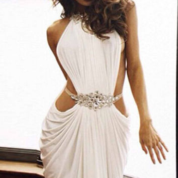 2016 New Arrival Long Mermaid Prom Dresses Sexy Backless Evening Dresss Sleeveless Beading A-line V-Neck White Dress For Party