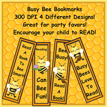 Personalized Custom Bookmarks Set 3 Party Favor Bookmarks BUSY BEE Bumble Bee Stocking Stuffers Free Shipping!