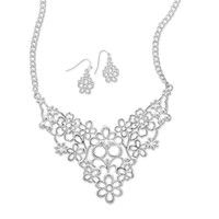 Flower Power Fashion Necklace and Earring Set