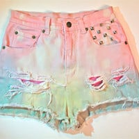 Upcyled Studded and Dyed Pastel High Waist Denim by RomaniRose
