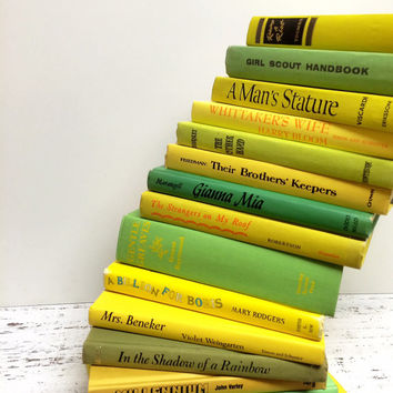 Book Wedding, Yellow and Green Books, Mustard Books, Lime Books,Vintage ,Lucite Green ,Custard ,Summer Wedding ,Bright Color Books,Kids Room