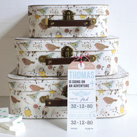 Three Birdy Suitcases With Personalised Luggage Label