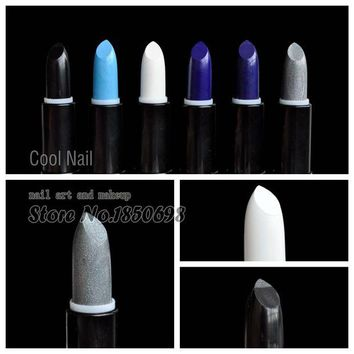 DCCK7G2 Cosplay Style The Kiss of Death Pure Black White Lipstick Diamond Blue Lipstick Glitter Silver Lip Part Makeup Stick
