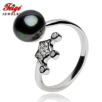 Crown Natural Pearl Ring for Women Party Jewelry 925 Sterling Silver Rings 8-9MM Black Freshwater Pearl Gifts Dropshipping FEIGE