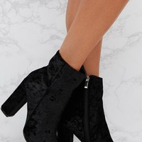 Black Crushed Velvet Ankle Boots