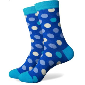 Colored Circles on Blue Dress Sock