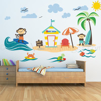 Surfing monkeys nursery wall decal, ocean wall decal, sea wall decal, nautical wall decal, kids wall decal, Monkey wall decal, surfing decal