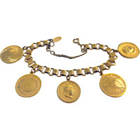 Signed Miriam Haskell Russian Gold Tone Token/Coin Charm Bracelet c. 1970