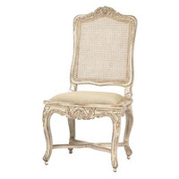 French Heritage, Regence Caned Cotton Side Chair, White, Side Chairs