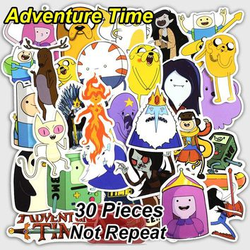 New 30 Pcs Adventure Time Cartoon Toys Cool Stickers For Laptop Luggage Wall Car Bicycle Motorcycle Notebook Waterproof Sticker