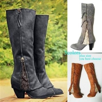 2017 NEW Women's Fashion Riding Boots Fold Over Design Near The Ankle with Lace Detailing At Edge Plus Size Black Boots Plus Siz