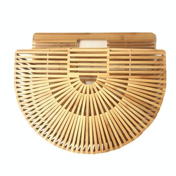 Handbags Woven Straw Women Bamboo Bags Female Causal Totes Small Hollow Summer Beach Bags for Ladies and Girls Wood Purse 2018