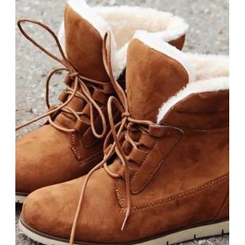 Furry Lace Up Bootie