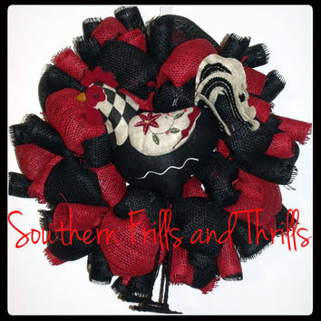 Red and Black Burlap Wreath with Rooster