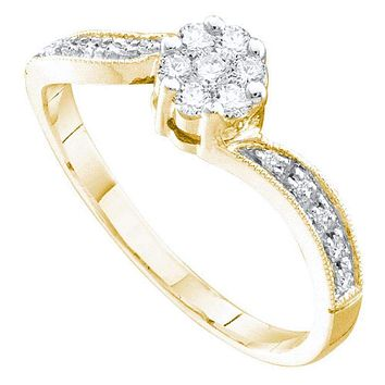 14kt Yellow Gold Womens Round Diamond Flower Cluster Ring 1-4 Cttw