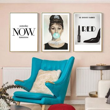 SURE LIFE Audrey Hepburn Poster Inspiring Life Quote Canvas Printings Wall Art Paintings Pictures Living Room Home Decorations