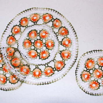Vintage Crochet Doilies 3 Handmade White Orange Green Wedding Home Decoration Unusual